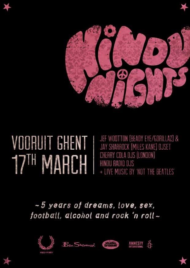 5 YEARS HINDU NIGHTS - Sat 17-03-12, Kunstencentrum Vooruit
