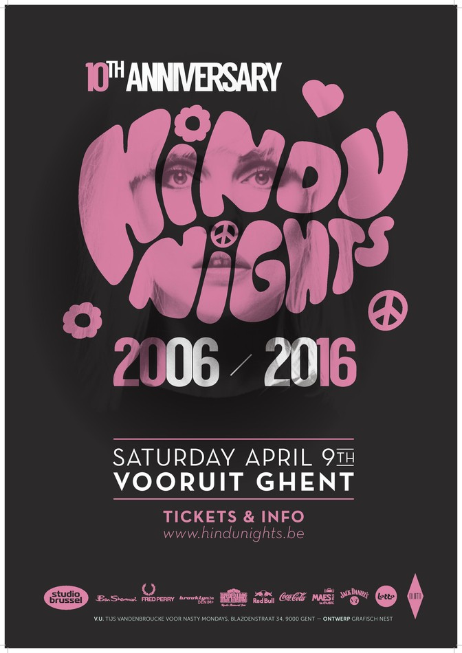 10 Years Hindu Nights - Sat 09-04-16, Kunstencentrum Vooruit